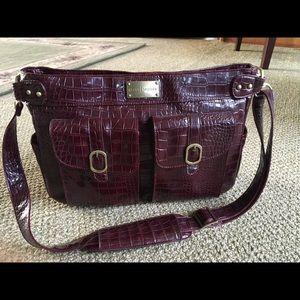 Kelley Moore purple fake croc camera bag